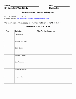 Introduction to Chemistry Worksheet Fresh Chemistry Webquest 1 Introduction to atoms Worksheet