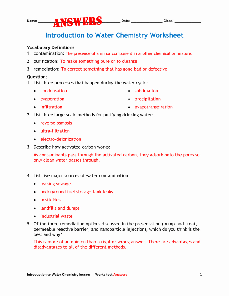 Introduction to Chemistry Worksheet Fresh Introduction to Water Chemistry Worksheet Answers