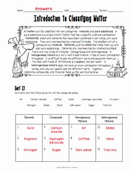 Introduction to Chemistry Worksheet Lovely Introduction to Classifying Matter Worksheet by Adventures