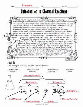 Introduction to Chemistry Worksheet Unique Introduction to Chemical Reactions Worksheet by Adventures