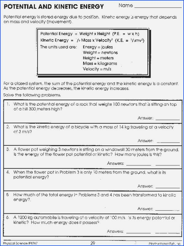 Introduction to Energy Worksheet Answers Lovely Introduction to Energy Worksheet Answer Key