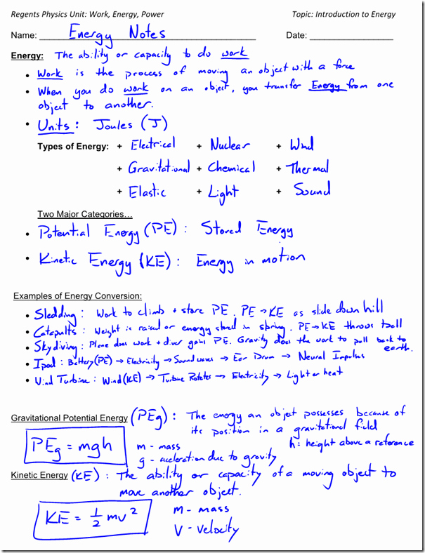Introduction to Energy Worksheet Answers Luxury Kinetic Energy Archives Regents Physics