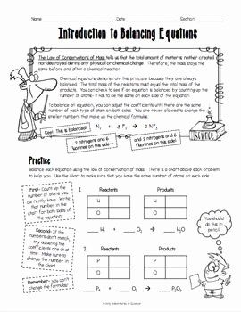 Introduction to Energy Worksheet Best Of Introduction to Balancing Chemical Equations Worksheet