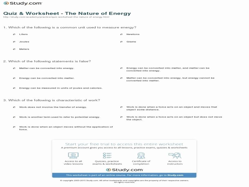 Introduction to Energy Worksheet Luxury Introduction to Energy Worksheet Answers Free Printable