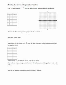 Inverse Functions Worksheet with Answers Awesome Drawing the Inverse Of Exponential Functions Worksheet for
