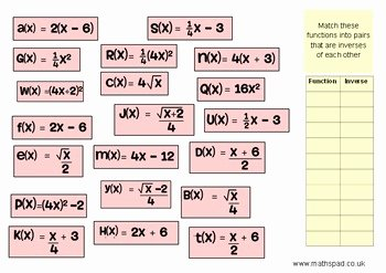 Inverse Functions Worksheet with Answers Fresh Inverse Functions Matching Activity by Nicola Waddilove