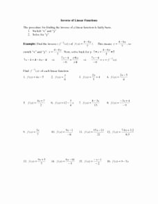 Inverse Functions Worksheet with Answers Inspirational Inverse Of Linear Functions 9th 11th Grade Worksheet
