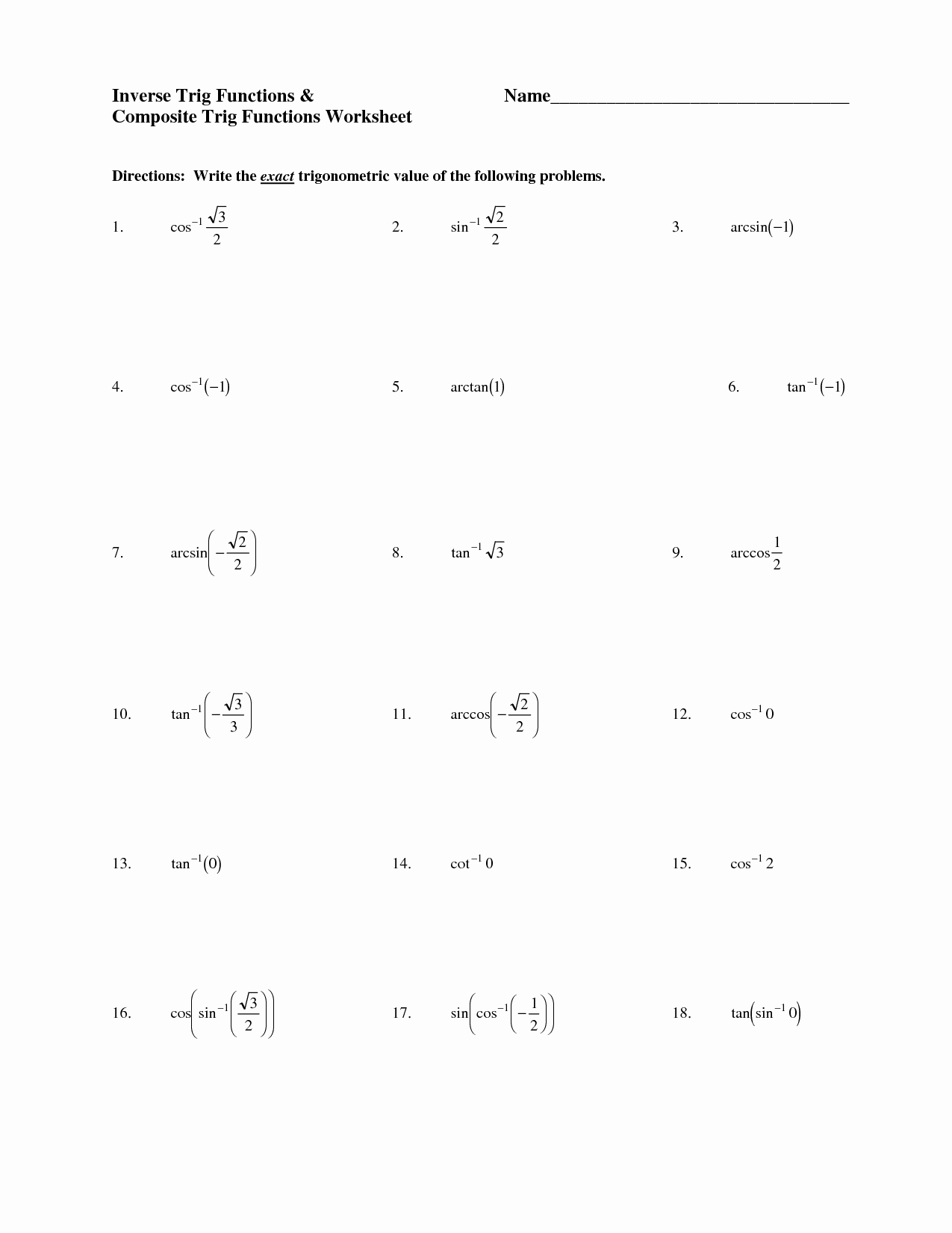 Inverse Functions Worksheet with Answers New 18 Best Of Trigonometry Worksheets and Answers Pdf