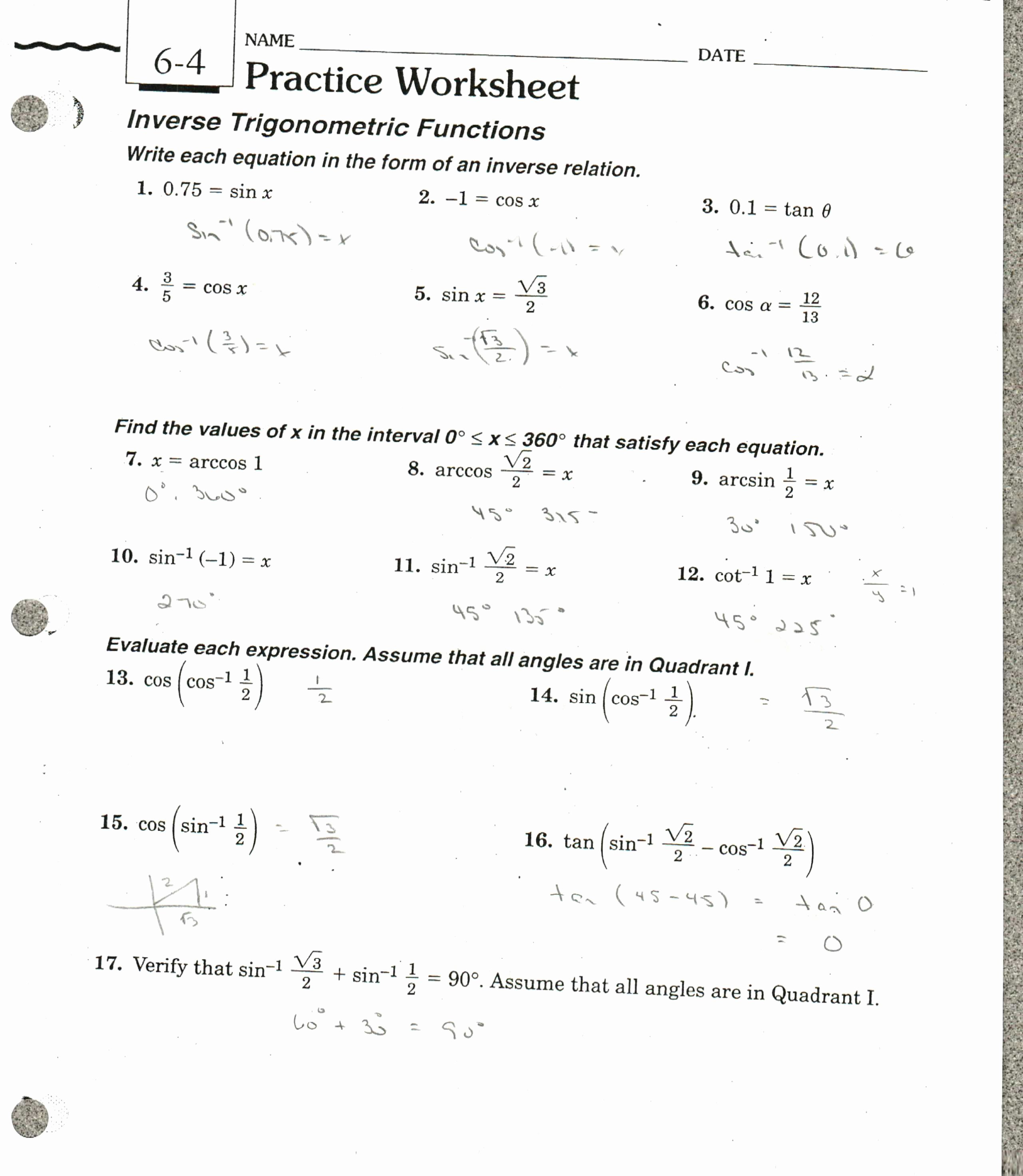 Inverse Functions Worksheet with Answers New Law Sines and Law Cosines Worksheet Lesson 8 5