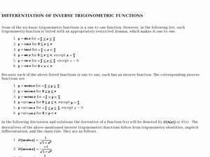 Inverse Trigonometric Functions Worksheet Awesome Inverse Trig Functions Chain Rule 9th Higher Ed