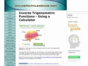 Inverse Trigonometric Functions Worksheet Beautiful Inverse Trigonometric Functions Using A Calculator 10th
