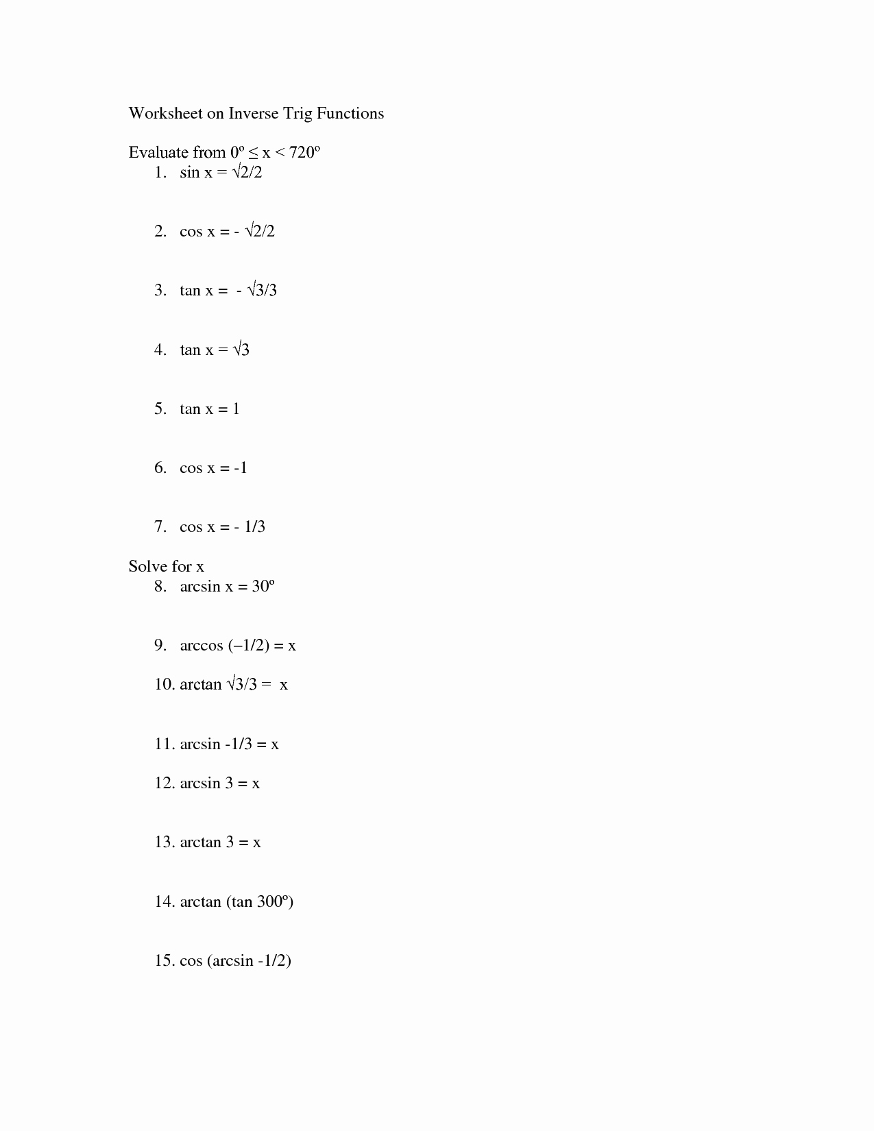 Inverse Trigonometric Functions Worksheet Best Of 18 Best Of Trigonometry Worksheets and Answers Pdf