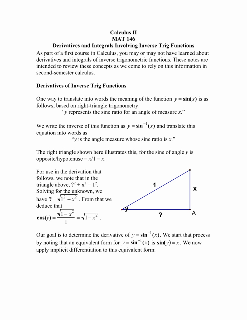 Inverse Trigonometric Functions Worksheet Best Of Derivatives Worksheet Kuta software