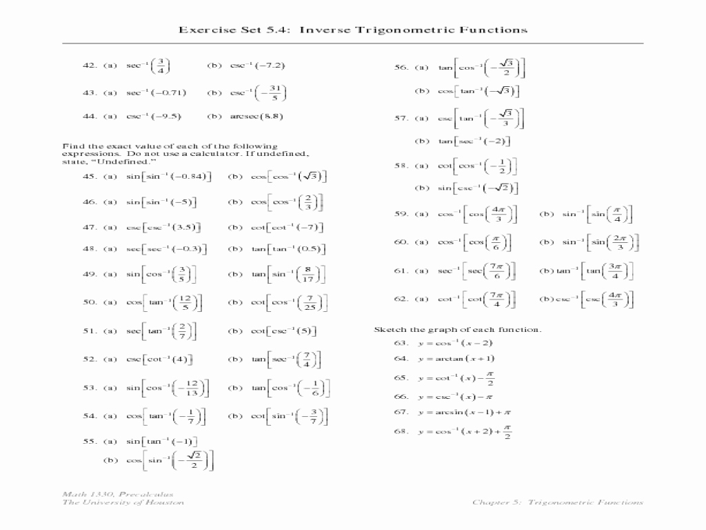 Inverse Trigonometric Functions Worksheet Elegant Trig Functions Worksheets