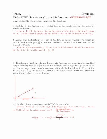 Inverse Trigonometric Functions Worksheet Fresh Trig Equations Worksheet 5 1 Name solve for 0≤x
