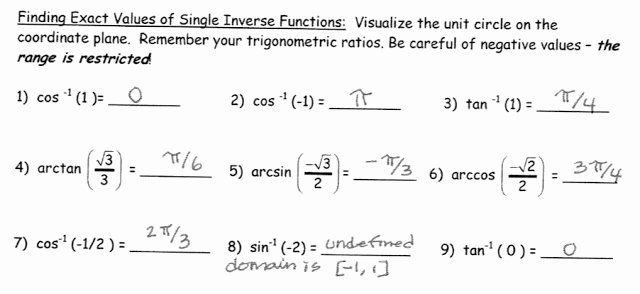 Inverse Trigonometric Functions Worksheet Luxury Beautiful Math