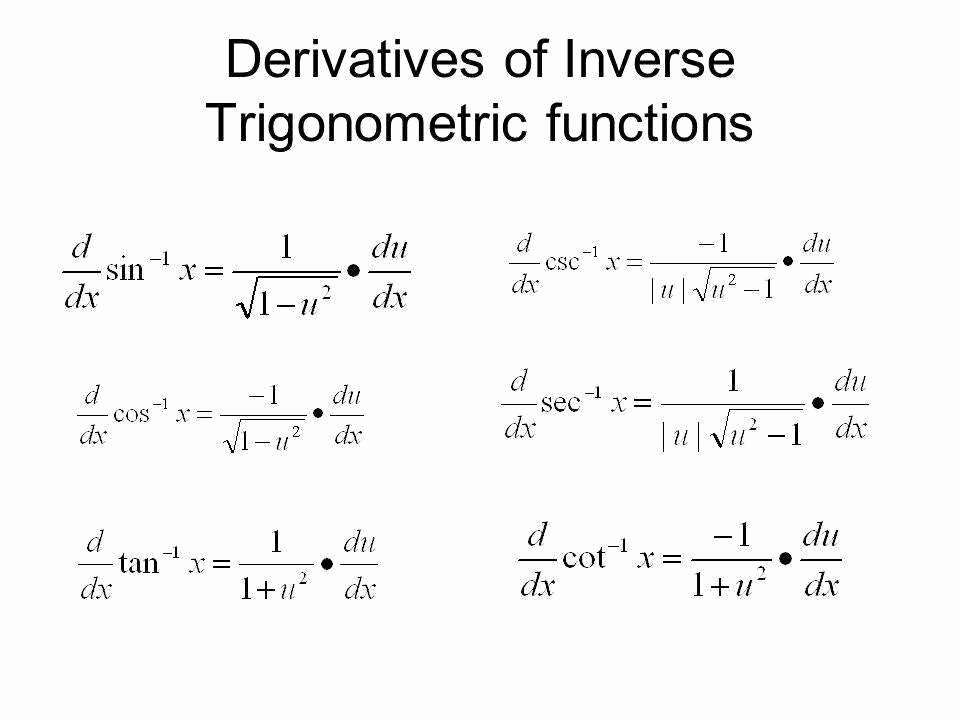 Inverse Trigonometric Functions Worksheet New Derivatives Inverse Trig Functions Worksheet