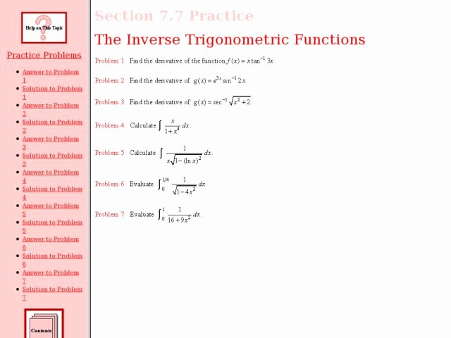 Inverse Trigonometric Functions Worksheet New the Inverse Trigonometric Functions Worksheet for 12th