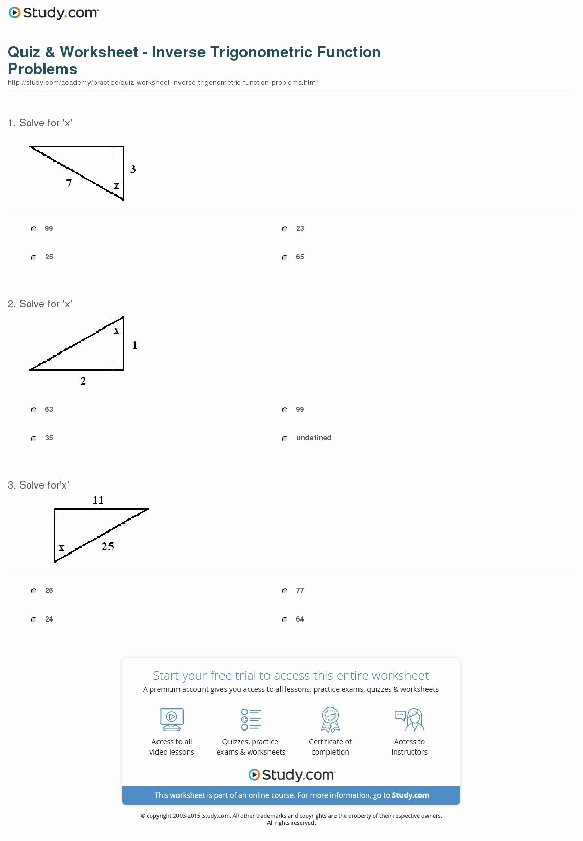 Inverse Trigonometric Functions Worksheet New Trig Ratios Worksheet Math 4