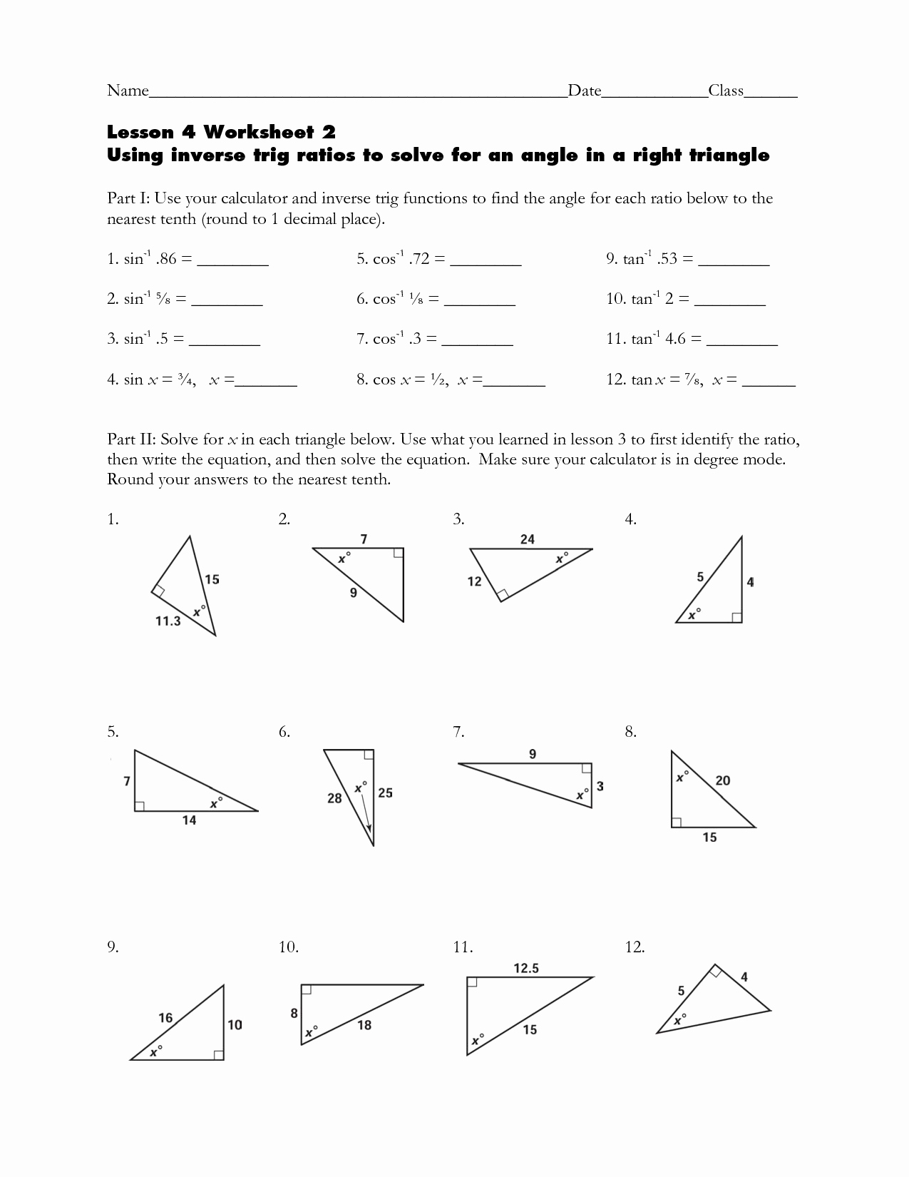 Inverse Trigonometric Functions Worksheet Unique Trigonometry Worksheets Clipground