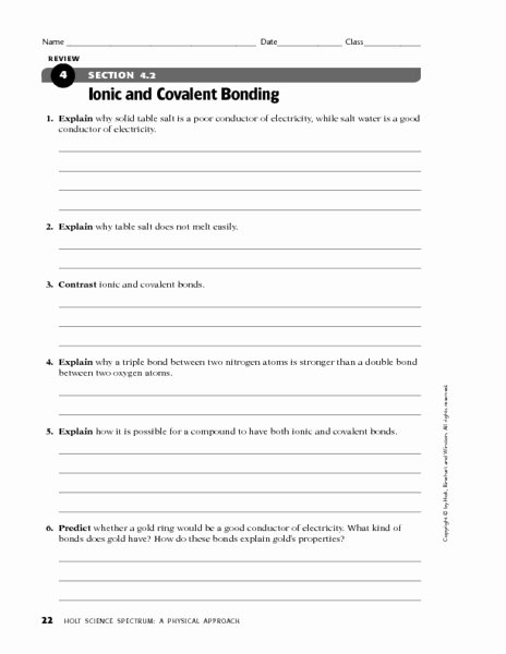 Ionic and Covalent Bonding Worksheet Inspirational Section 4 2 Ionic and Covalent Bonding Worksheet for 9th