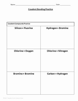 Ionic and Covalent Bonds Worksheet Beautiful Covalent Bonding Practice Worksheet by Teacher Erica S