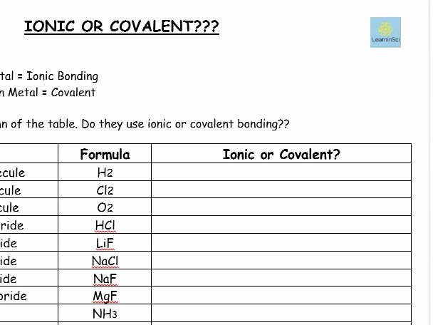 Ionic and Covalent Bonds Worksheet Fresh Ionic or Covalent Worksheet Gcse Chemistry Bined