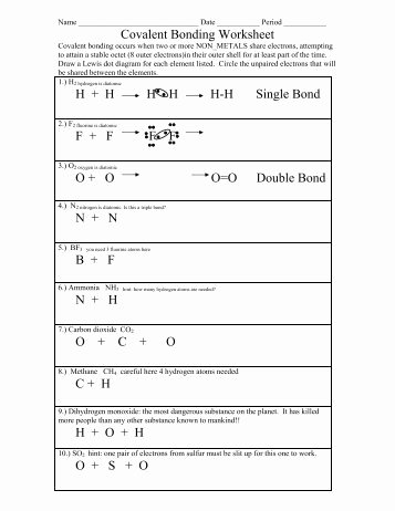 Ionic and Covalent Bonds Worksheet Inspirational Types Of Bonds and Covalent Bonding Worksheet Colina