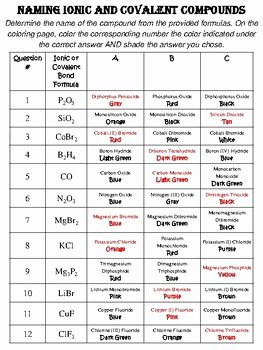 Ionic Bonding Worksheet Answer Key Beautiful Naming Ionic and Covalent Pounds Color by Number