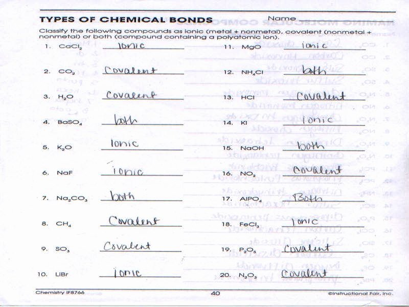 Ionic Bonding Worksheet Answer Key Elegant Chemical Bonding Worksheet