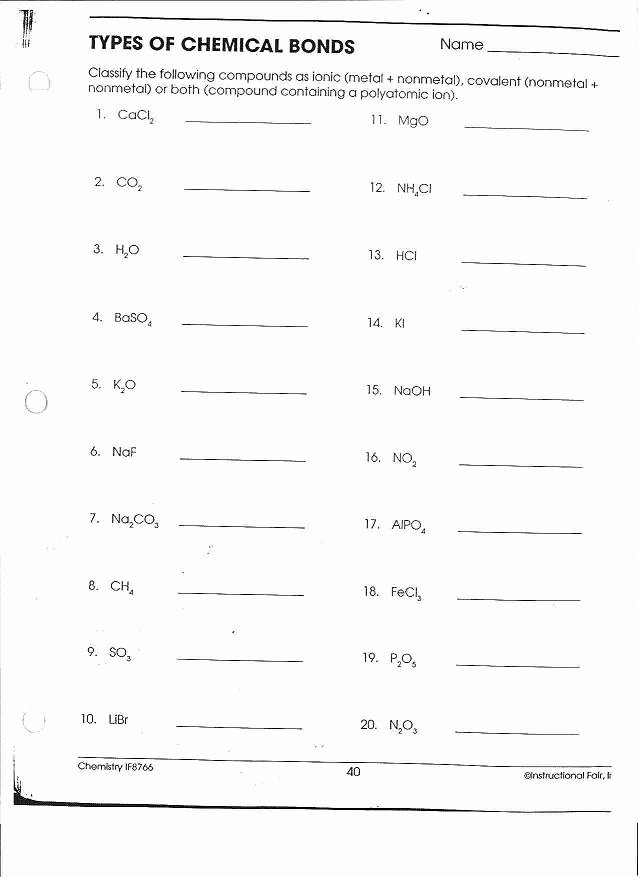 Ionic Bonding Worksheet Answer Key Fresh 16 Best Of Types Chemical Bonds Worksheet