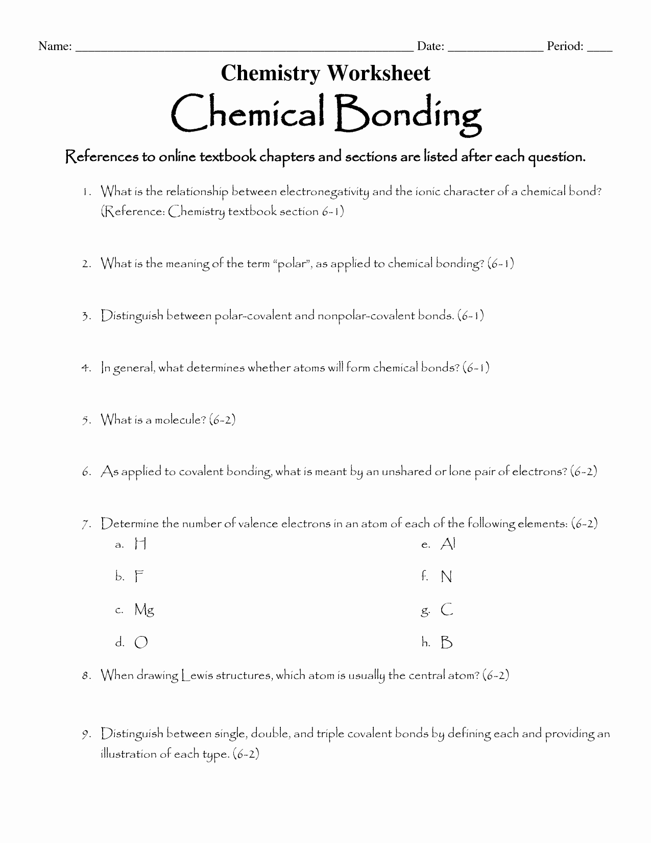 Ionic Bonding Worksheet Answer Key New 16 Best Of Types Chemical Bonds Worksheet