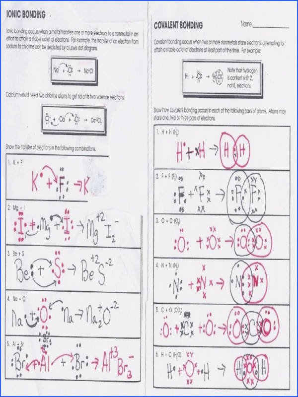 Ionic Bonding Worksheet Answers Inspirational Ionic Bonding Worksheet Answers