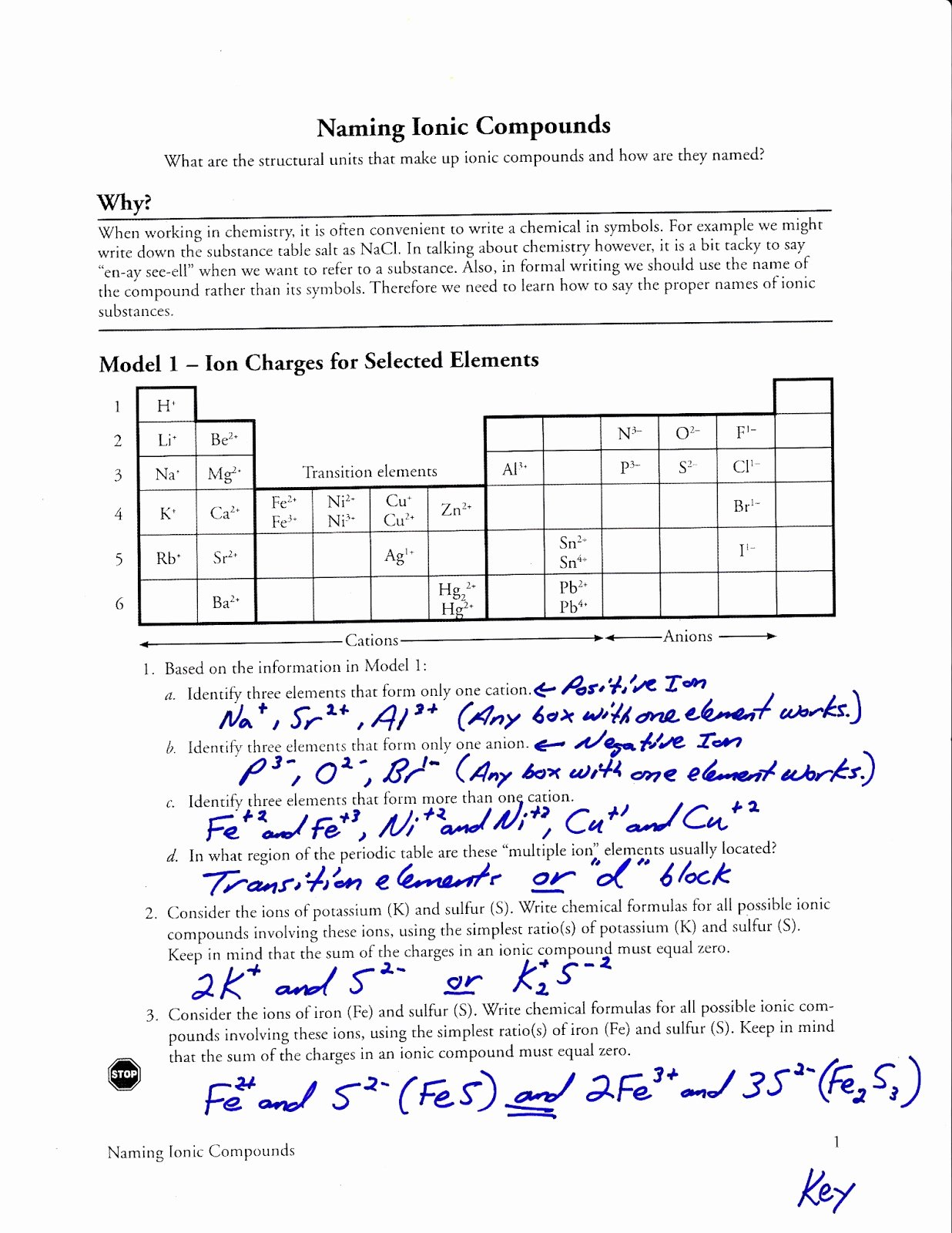 Ionic Bonding Worksheet Key Unique Pogil Cracking the Periodic Table Code Answer Key