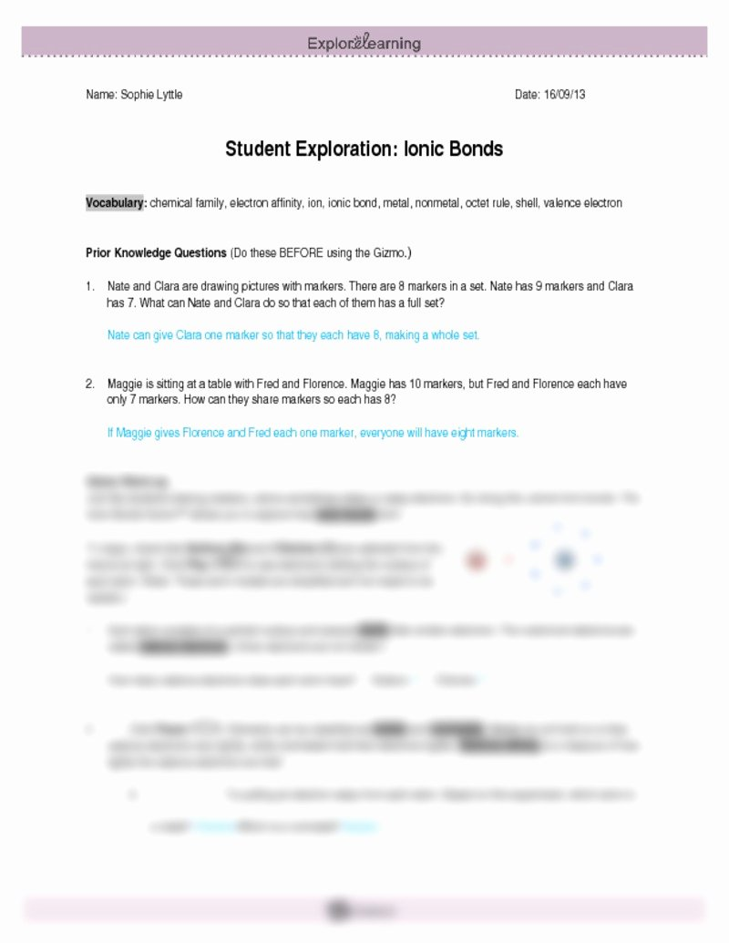 Ionic Bonds Worksheet Answers Beautiful Student Exploration Ionic Bonds Worksheet Answers