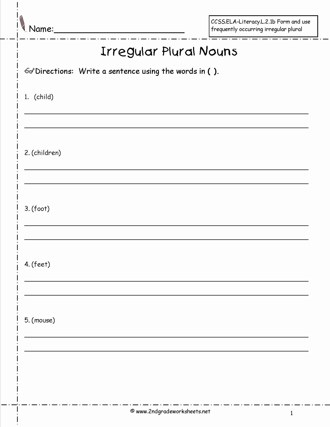 Irregular Plural Nouns Worksheet Beautiful Singular and Plural Nouns Worksheets