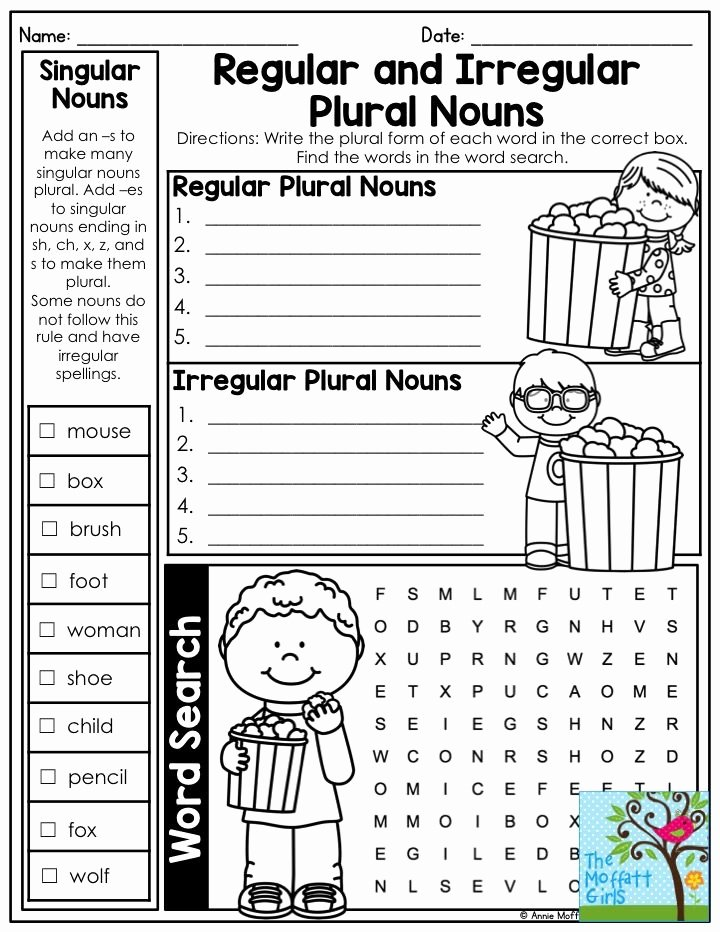 Irregular Plural Nouns Worksheet Elegant Nouns No Prep Packet