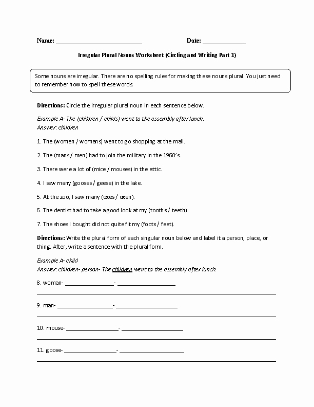 Irregular Plural Nouns Worksheet Fresh Practicing Irregular Nouns Worksheet