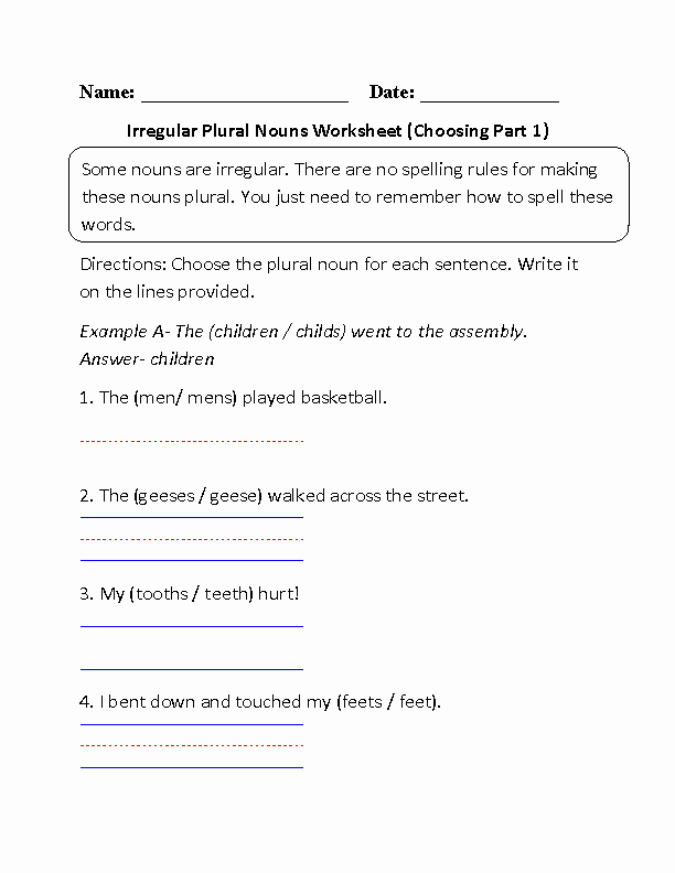 Irregular Plural Nouns Worksheet Luxury Nouns Worksheets