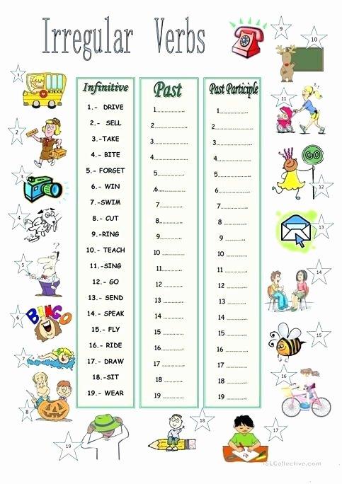Irregular Verbs Worksheet Pdf Awesome Free Printable Irregular Verb Worksheets – Skgold