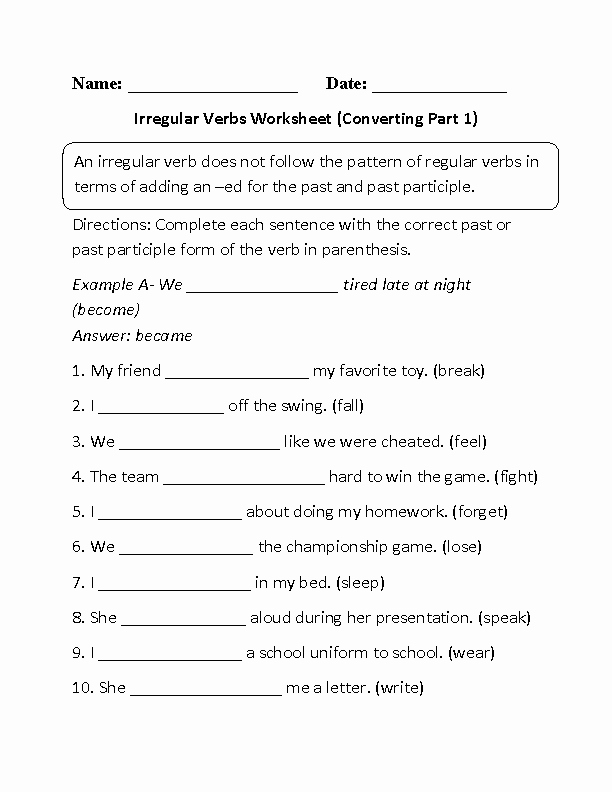 Irregular Verbs Worksheet Pdf Awesome Verbs Worksheets