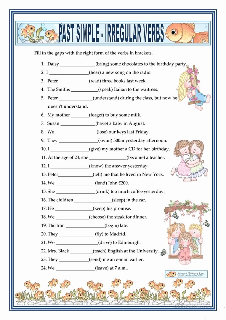 Irregular Verbs Worksheet Pdf Fresh Past Simple Irregular Verbs Worksheet Free Esl