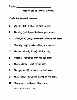Irregular Verbs Worksheet Pdf Fresh Past Tense Of Irregular Verbs Worksheet for Mon Core