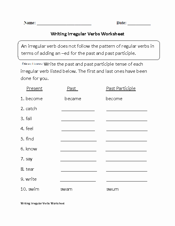 Irregular Verbs Worksheet Pdf Fresh Verbs Worksheets