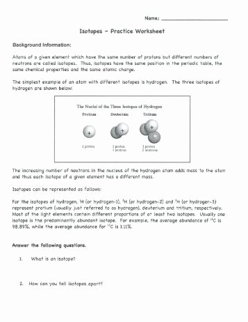 Isotope Practice Worksheet Answers Fresh Protons Neutrons and Electrons Practice Worksheet