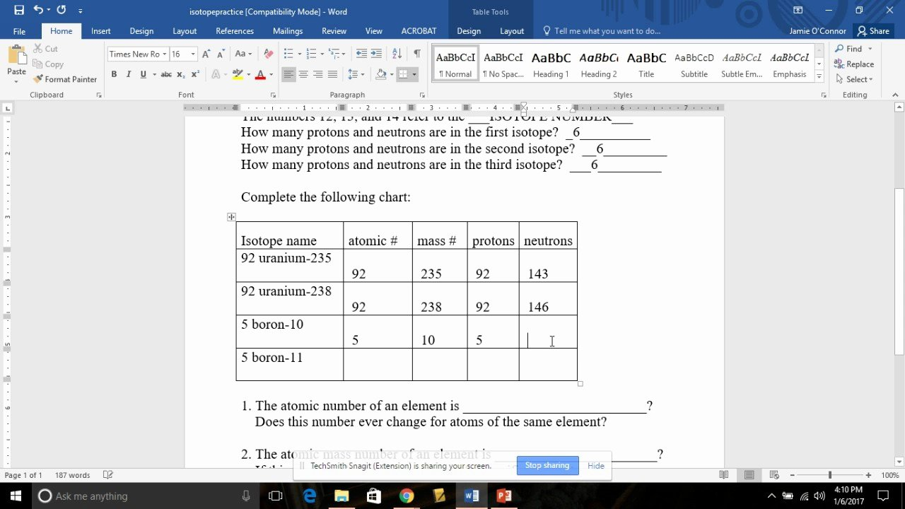 Isotope Practice Worksheet Answers New isotope Practice