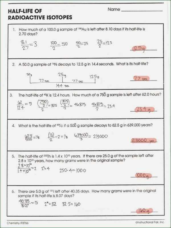Isotopes Worksheet Answer Key New Half Life Radioactive isotopes Worksheet Answers