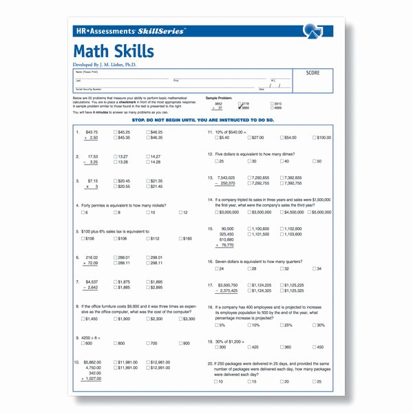 Job Skills assessment Worksheet Beautiful Workplace Math Skills Test