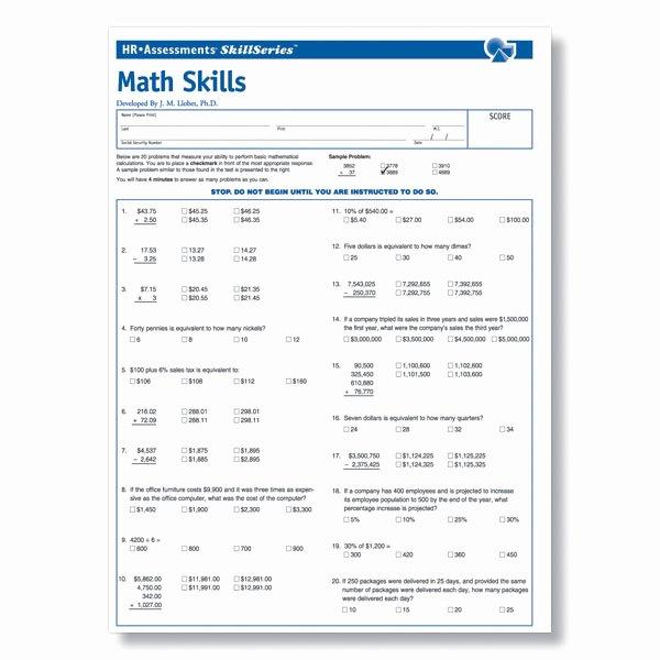 Job Skills assessment Worksheet Beautiful Workplace Math Skills Test