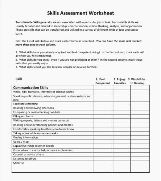 Job Skills assessment Worksheet Best Of top 37 Prehensive Leadership Style Test Printable
